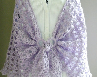 Crochet Shawl -  Purple Shoulder Wrap - Evening Wrap - Crochet Scarf - Lightweight Shawl