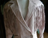 Pretty in pink sexy leather fringe coat / jacket