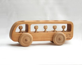 Wooden Bus - Wooden toy Car - Cherry wood-Eco Friendly Toy