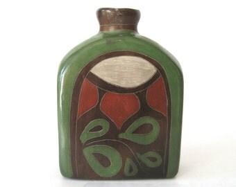 Vintage Rustic Pottery Bottle Vase