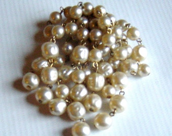 Vintage 1950s Pearl Cascade Waterfall Brooch Mid Century Wedding Bridal Bouquet Pin