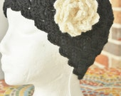 Cloche. Womens hat. Black with Ivory flower