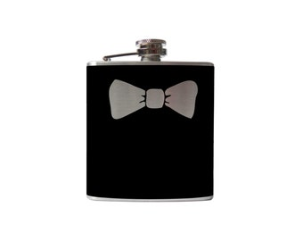 Bowtie Flask- alcohol, liquor, booze, wedding, bridal party, hip pocket- Personalized Custom - YOU pick COLOR, SIZE