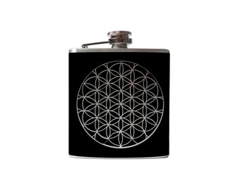 Flower of Life FLASK- alcohol, liquor, booze, wedding, bridal party, hip pocket- whiskey, mandala Personalized Custom - YOU pick COLOR