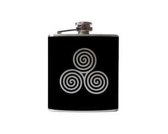 Triple Spiral FLASK- Triskelion, celtic knot alcohol, liquor, booze, party, festival, concert, hip- Personalized- You pick Color