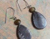 Silver Beadwork Earrings OOAK, Brown Tear Drop Shell Beads with Small Brown Tiger's Eye Glass Bead Accent