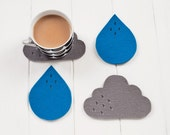 Cloud & Rain Felt Coaster set - 100% wool felt, set of 4 blue and turquoise blue - pygmycloud