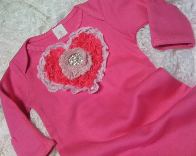 Newborn Girls Valentine's Day Layette Hot Pink gown