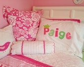 Match Your Room - Personalized Satin Pillow Case Applique Letters 320 Thread Count