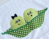 Two Peas in a Pod Towel - Second Anniversary, Wedding, Housewarming Gift