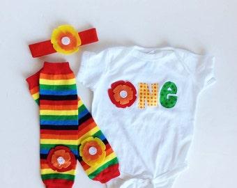 First Birthday Rainbow Flower One Piece Bodysuit and Flower baby leg warmers matching headband - One Uno Eins Um