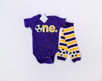 Soccer First Birthday ONE Bodysuit and Soccer Leg Warmers - Other Colors Available