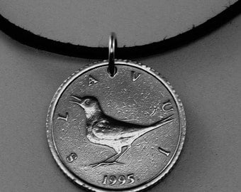 Croatia necklace. 1995 COIN JEWELRY -  coin necklace  -  bird coin pendant - men jewelry. slavui croatian   kuna   No.001696