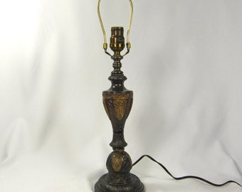 Table Lamp Vintage Deco Heavy Cast Metal Antique Original Patina Polychrome 1920s