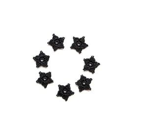 Crochet Flower Appliques, Small Starflower Motif, Decorative Crochet, Blackest Black, Gothic Style Crochet Stars, Set of 7, Embellishments