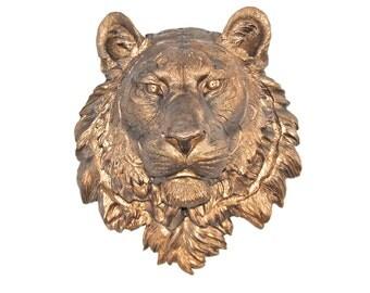 Metallic Bronze- Tiger Head Wall Mount - Faux Taxidermy T09