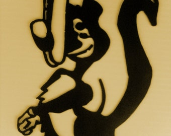 Skunk, Lodge, Cabin, Northwoods, Wildlife, Metal Art, Silhouette, Woodsy, Comic