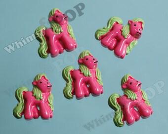3 - CLEARANCE SALE Kawaii Pony Horse Resin Flatback Cabochons, Horse Cabochons, Pony Cabochons, 25mm x 22mm (R6-081)