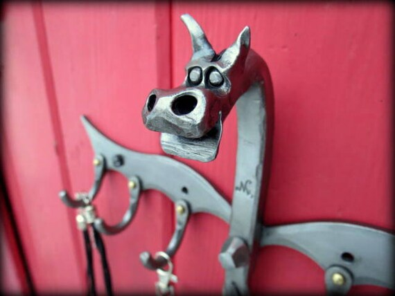 KEY or JEWELRY Rack Dragon Sculpture Hand Forged and signed by BLACKSMITH Naz , Original Design from Naz Forge