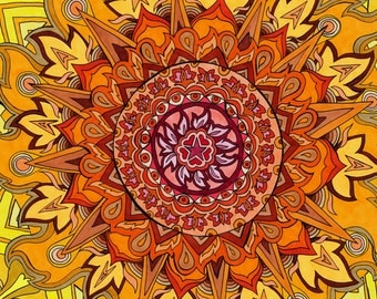 Revelation Mandala Print (Psychedelic Red Orange Coral Gold Yellow Buddhist Spiritual Colorful Drawing Copic Marker Ink on Bristol Board)