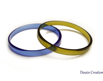 TWO Wine Bottle Bangle Bracelets, Upcycled Fused Glass Jewelry, Eco Friendly Gift, Royal Blue & Golden, Dessin Creations