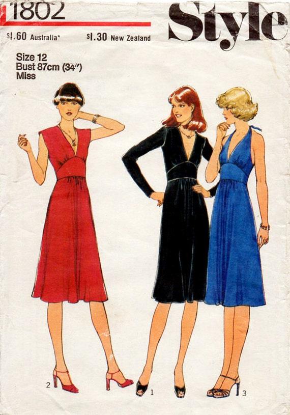 1970s Halter Neck Evening Dress Disco Era Vintage Sewing