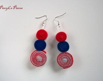 The White Blue and Red Stripes - Marine Maritime Blue Red Ecru White Felt Earrings Felt Circles One of a Kind