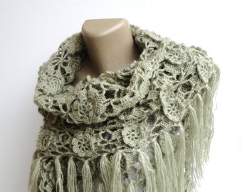 soft green crochet shawl women shawl scarf ,crochet winter fashion accessories crocheted shawl , scarves for her senoAccessory