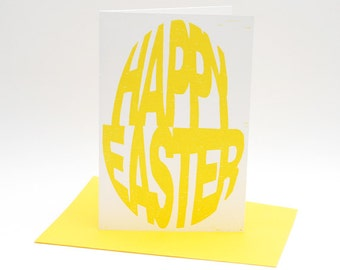 Letterpress Easter card, Vrolijk Pasen, Happy Easter, hand-printed woodcut