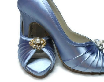 Blue Wedding Shoes Bridal Shoes Dyeable Crystal and Rhinestone Peep Toe Platform