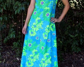 1960s Psychedelic Highlighter Floral DRESS Bright Maxi Tank Shift // Size M / L