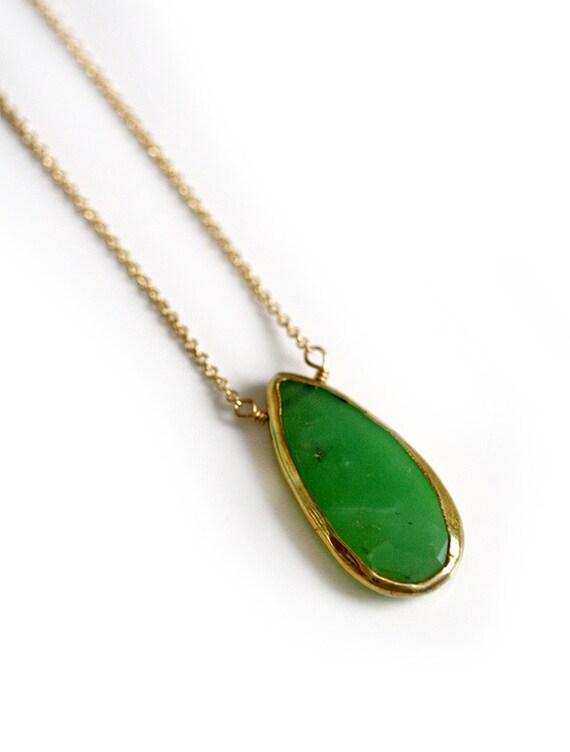 MINT chrysoprase drop necklace