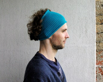 Turquoise Knitted Mens Headband Guys knit hair wrap Dread band gift for him dreadlocks accessory