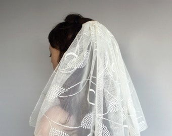 Ivory Cream Tulle Veil, Shoulder Length, Alternative. Handmade. Unique Item