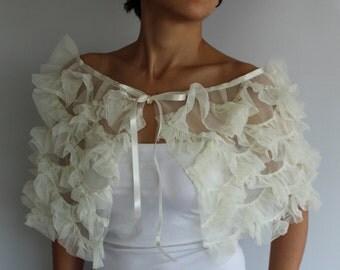 Wedding Bolero, Frilled Capelet, Fairytale Bridal Cape Shrug, Bolero in Retro Style, Cream Ivory Ruffled Tulle. Handmade