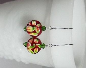 Red Lampwork Earrings, Flower Earrings, Mom Sister Jewelry, Gifts, Cocktail, Drop Earrings, Pretty