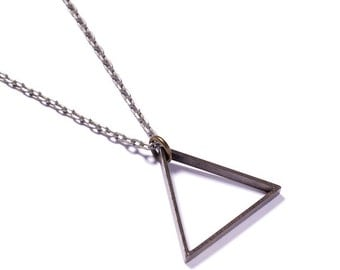 Mens Necklace - Mens Jewelry - Triangle pendant - Steel Tone Chain - Silver triangle - Geometric jewelry - minimalist Jewelry - gift for men
