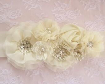 Bridal Sash Wedding Sash Wedding Sash 3D Ivory or White  Elegant and Classic Pearls chiffon