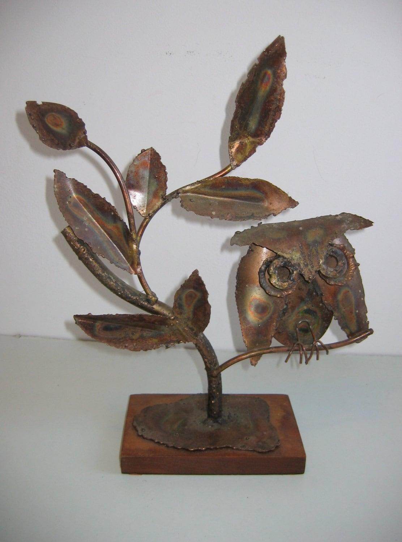 brutalist owl sculpture art brut vintage 1970 39 s metal. Black Bedroom Furniture Sets. Home Design Ideas