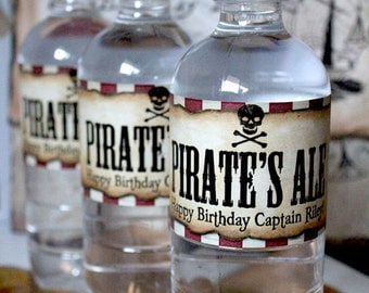 Pirate Water Bottle Labels - INSTANT DOWNLOAD - Editable & Printable Birthday Party Decorations by Sassaby