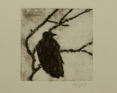 Rook Original Print, Collograph Bird Print, Fine Art Rook, Original Nature Print, Black Rook Art