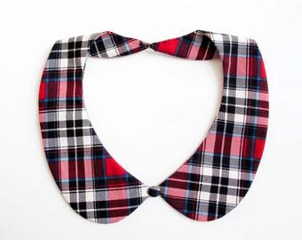 Detachable peter pan collar necklace, scottish plaid tartan