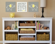 Elephant Alphabet canvas children's art, wall art, nursery wall art, canvas prints, elephant nursery-Set of three stretched canvases