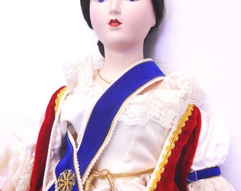 "Sale!!! Just Reduced! Queen Victoria porcelain doll Victoria Regina Franklin Mint Collection Heirloom Doll 19"" Queens of England Series"