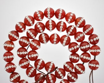 6 Beads . Red Carnelian Agate with Rhinestone Accents . 8mm x 9mm gcr0002