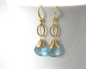 aqua blue earrings mystic quartz gemstone wire wrapped and gold ring drop dangle earrings