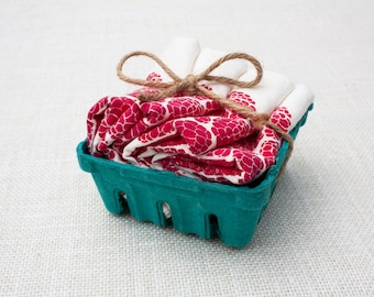 Set of Four Raspberry Basket Flour Sack Napkins