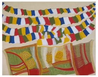 Prayer Flags, fiber art collage