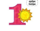 INSTANT DOWNLOAD, Machine Applique Design, Number One with Sun