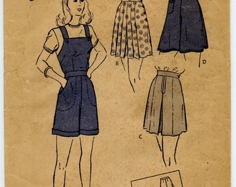 1940's Butterick 3397 Vintage Sewing Pattern Misses Set of Shorts Cuffed Shorts Playsuit Overalls Romper Waist 28